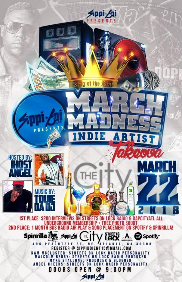 EVENT: March Madness Indie Artist Takeover 3/22 The City – ATL, GA